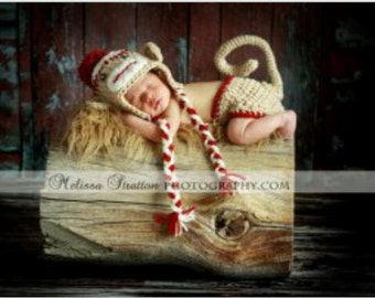 Newborn or 0-3 months  baby monkey  diaper   cover hat set crochet Newborn photo props photography boy girl
