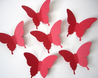 25 Red Elegant Butterfly Die Cuts Punch Wall Decor Scrapbook Embellishments - No843