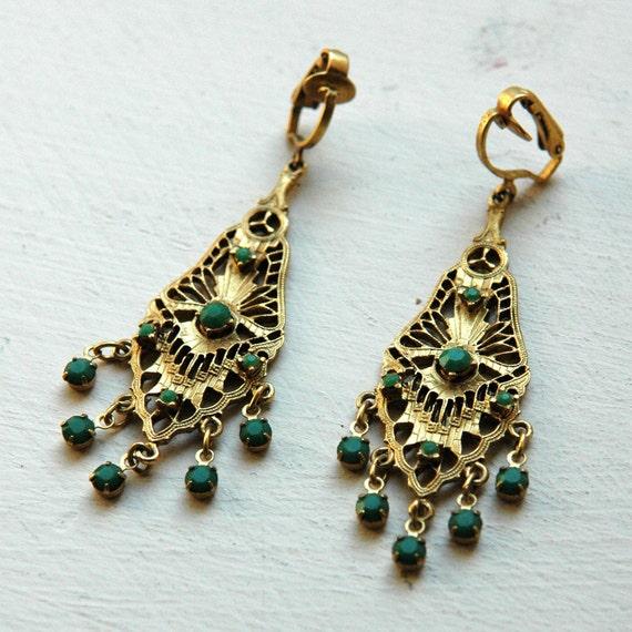 1960s Gold & Green Drop Earrings // Vintage Filigree Earrings