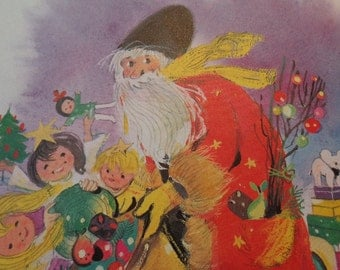 Vintage Country Disheveled Santa & Sack, Shiny Brights  VTG illus,  COLORful graphics, Frame worthy,  REpurpose for LG tags, cards