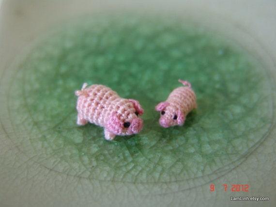 1/3 inch miniature pink pig and 1/4 inch pink piglet - Tiny amigurumi crochet animals