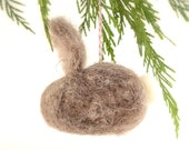 Needle Felted Rabbit Ornament, grey natural woodland rustic Christmas  tree decor ecofriendly wool decor