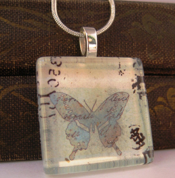 Butterfly Pendant.  Glass Tile Pendant on a Silver Snake Chain