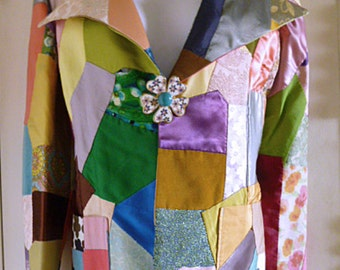 1960s-70s Flower-Power Patchwork Homemade Jacket