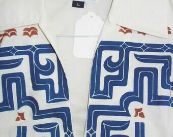 1960's TIKI Large Island Block Print shirt