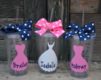 2 (TWO) Bridesmaid gifts Personalized Cups - 16oz Clear Acrylic Tumbler Cup with Screw on Acrylic Lid and Removable Straw
