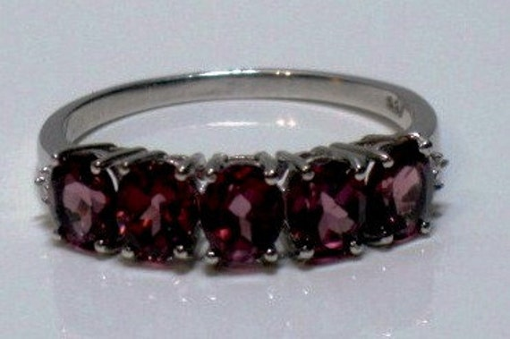 Rhodolite Garnet (Ovl) 5 Stone Ring