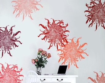 STENCIL for Walls - Chrysanthemum no. 1 - Large flower stencil for DIY Home Decor