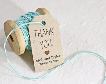 Homemade Thank You Wedding Gifts : ... Gift Tag, Thank You Tag, Gift Wrapping, DIY Wedding Supply - Set of 25