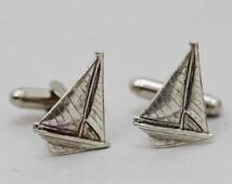Sailboat Cufflinks Men's Cufflinks  Antiqued Silver Vintage Style Fashion Accessories