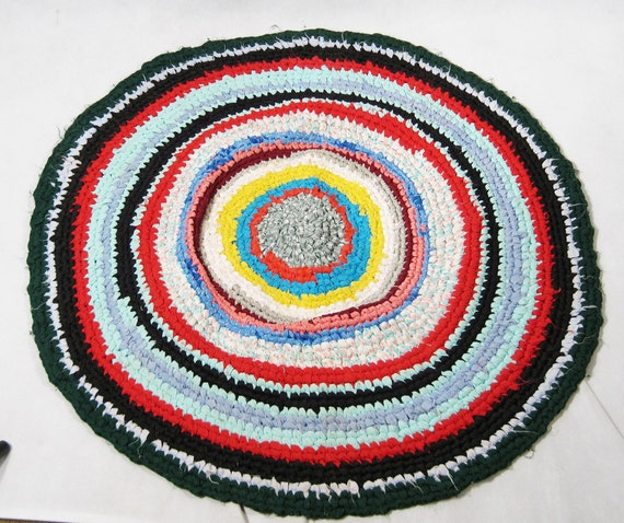 Vintage Handmade Multi-Colored Round Rag Rug 35 x 35 Inches