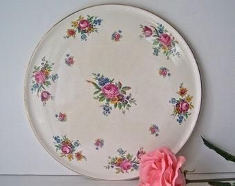 Vintage Cake Plate Royal Tudor Pink Roses England Cake Plate Wedding Cake England Mid Century 1950s