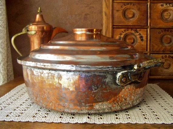 Antique Turkish Copper Bowl Pot Boiler Cooking Vessel