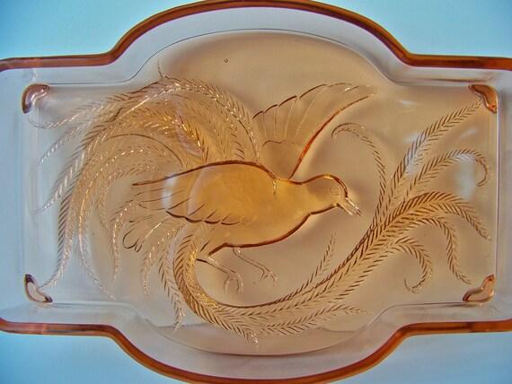 Vintage Pink Depression Glass Pheasant Footed Serving Dish