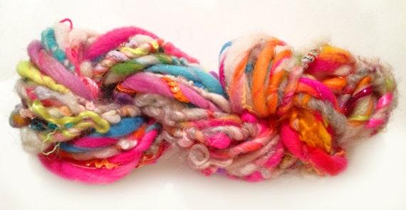 Handspun Art Yarn - Garden of Wooly Delights Mixed Fiber Blend in Neon Happy Birthday Colorway