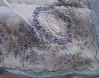 Vintage NINA RICCI Floral Hankie Embroidered