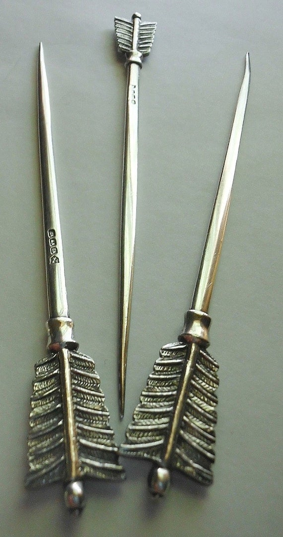 Danish Silverplate Arrow Olive Picks, Hallmarked Copenhagen
