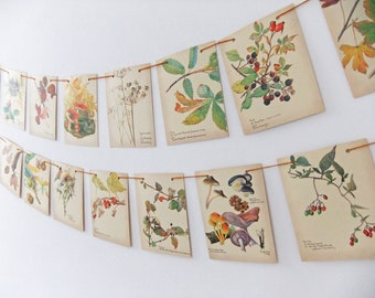 Fall garland, Autumn Bunting, Wedding Banner. Rustic wedding Pennants, Upcycled Country Diary of an Edwardian Lady