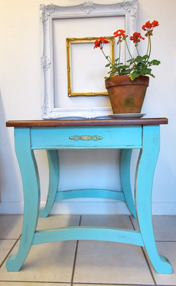 aqua blue end table natural wood top end table ready to ship. Black Bedroom Furniture Sets. Home Design Ideas
