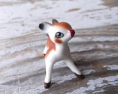 Tiny Hand Painted Vintage Ceramic Deer FREE SHIPPING