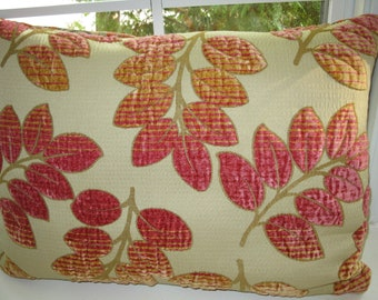 Gorgeous pink Designer fabric pillow cover. Three dimensional Velvet foliage 14x22 inches
