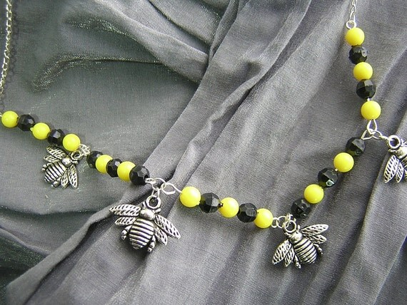 Yellow and Black Beaded Necklace with Silver Bumble Bee Charms Handmade By Rewondered