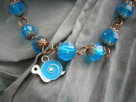 Turquoise Blue and Copper Large Bead Necklace with Turquoise Blue and White Snail Charm Handmade by Rewondered