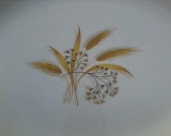 Vintage Platter with Wheat Botanical Motif