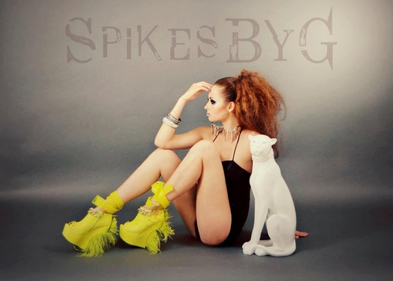 Heel Less Sculpted Platform Spiked Women Booties Neon with Ostrich Feathers size 8..A SpikesByG Design