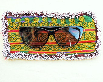 Vintage Eye Glasses Case, Bag with Zazi Hand Embroidery and Beaded Fringe from Afghanistan