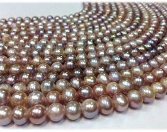15.5 inch 9 to 10 mm Large Hole Freshwater Pearl Potato Beads - Blush 2.5 mm hole (G2143NB57)
