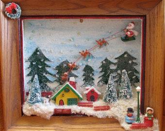 Vintage Kitsch 3-D Folk Art Christmas Holiday Wall Hanging with Santa Claus