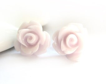 SALE - Soft Mauve Rose Stud Earrings