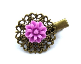 CLEARANCE - Purple Flower Antique Brass Alligator Hair Clip