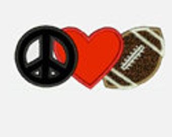 Peace Love Football...Embroidery Applique Design...Three sizes for multiple hoops...Item1393...INSTANT DOWNLOAD