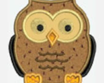 Owl...Embroidery Applique Design...Three sizes for multiple hoops...Item1220...INSTANT DOWNLOAD