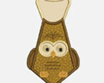 Owl Tie...Embroidery Applique Design...Three sizes for multiple hoops...Item1564...INSTANT DOWNLOAD