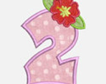 Luau Flower Numbers...Embroidery Applique Design...Two sizes for multiple hoops...Item1523...INSTANT DOWNLOAD