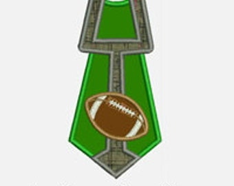 Football Tie...Embroidery Applique Design...Three sizes for multiple hoops...Item1562...INSTANT DOWNLOAD