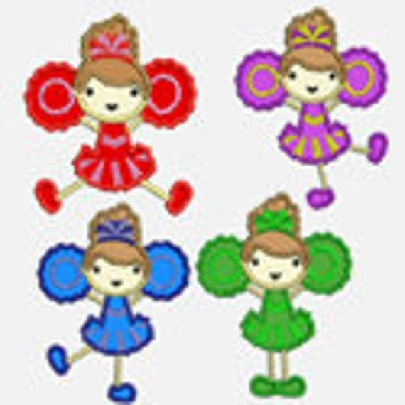 Cheer Leaders...Four Embroidery Applique Designs...Two sizes of each design for multiple hoops...Item1438.