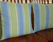 Decorative Accent Pillows, Pillow Covers, Throw Pillows, 20 Inch Pillows - Green and Blue Stripe