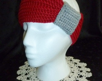 Crochet Knotted Headband in Red and Grey