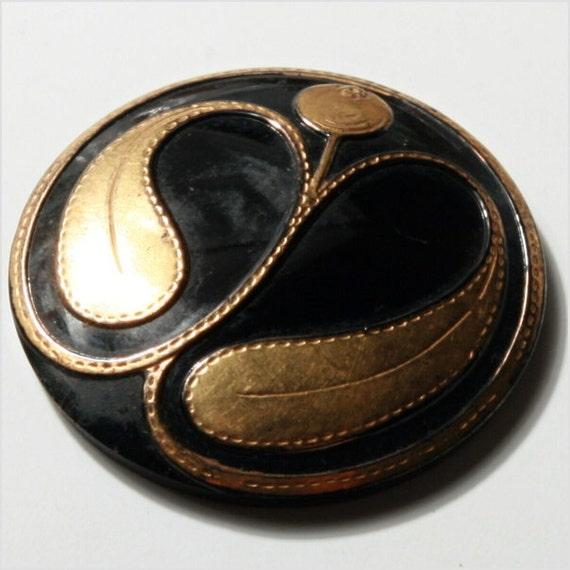27 mm Antique vintage Art Nouveau black Gold paint glass button collectible E712-143