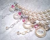 Party name pearl name monogram bracelet SET of four personalized ...
