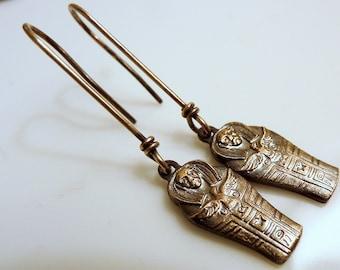 Tiny Mummy Earrings Vintage Egyptian Sarcophagus Charms