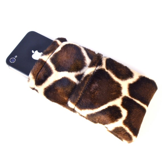 Small Giraffe Print Cell Phone Cozy Gadget Sleeve for iPhone Fabric Phone Case Animal Print Accessory - Ready to Ship