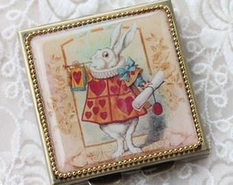 Alice Rabbit-Whimsical Retro Women - Fashion Vintage Women - Victorian Women - Pill Case - Pillbox- pil box-Compact Mirror-Trinket Box