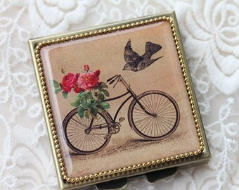 Bicycle Rose-Whimsical Retro Women - Fashion Vintage Women - Victorian Women - Pill Case - Pillbox- pil box-Compact Mirror-Trinket Box