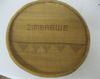 Africian Heritage Rare ZIMBABWE Natural Hand Woven African Grain Basket Vintage Treasured Collectible Lovely Wedding, Home or Office Display