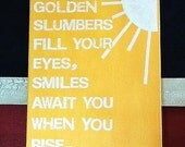 16X20 Canvas Sign - Golden Slumbers Fill Your Eyes, Decoration, Yellow and White, Typography word art, Decoration, Gift